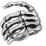MENDINO Mens Jewellery Vintage Biker Tribe Gothic Skull Skeleton Hand Bone Silver Black Stainless Steel Ring
