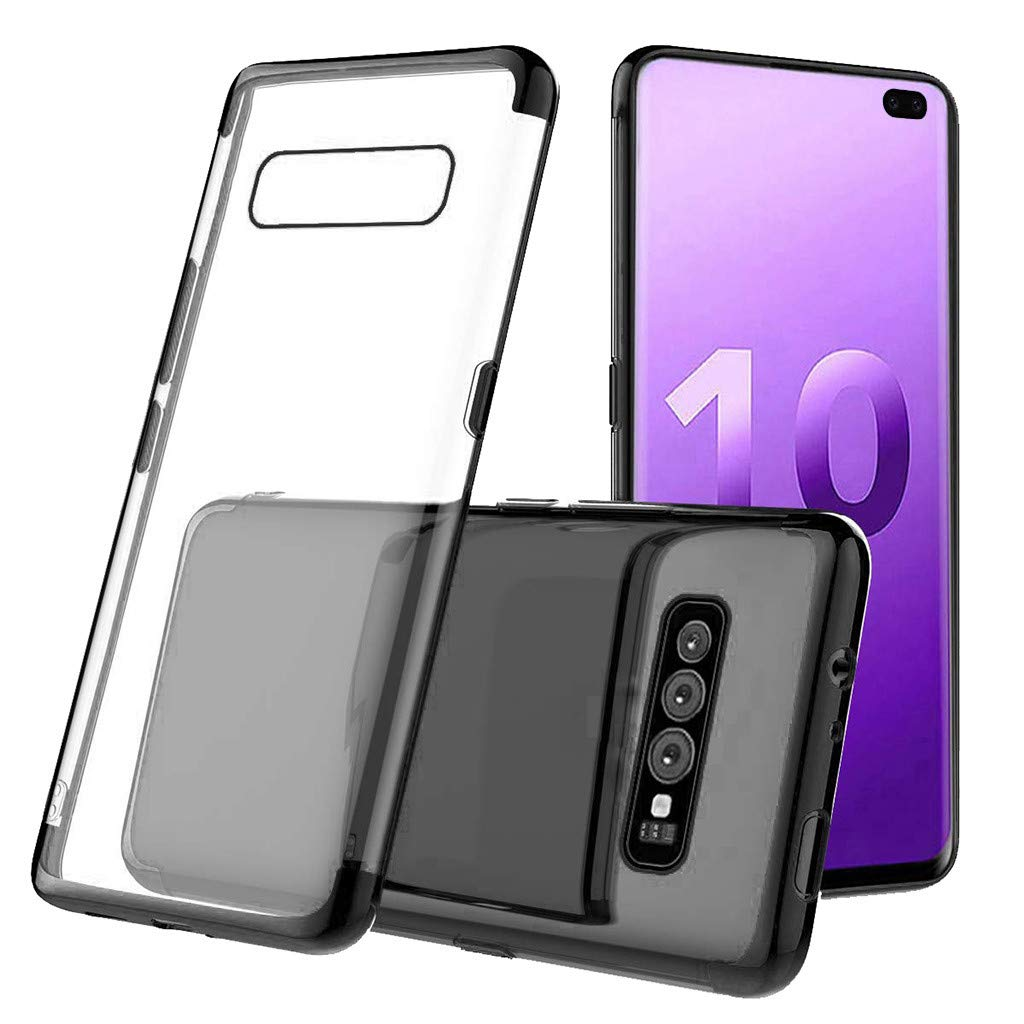 Waterproof-Case-with-Built- Screen-Protector,For Samsung-S10-Plus 6.3inch-Clear-Case-Protective TPU Gel Cover (Black)
