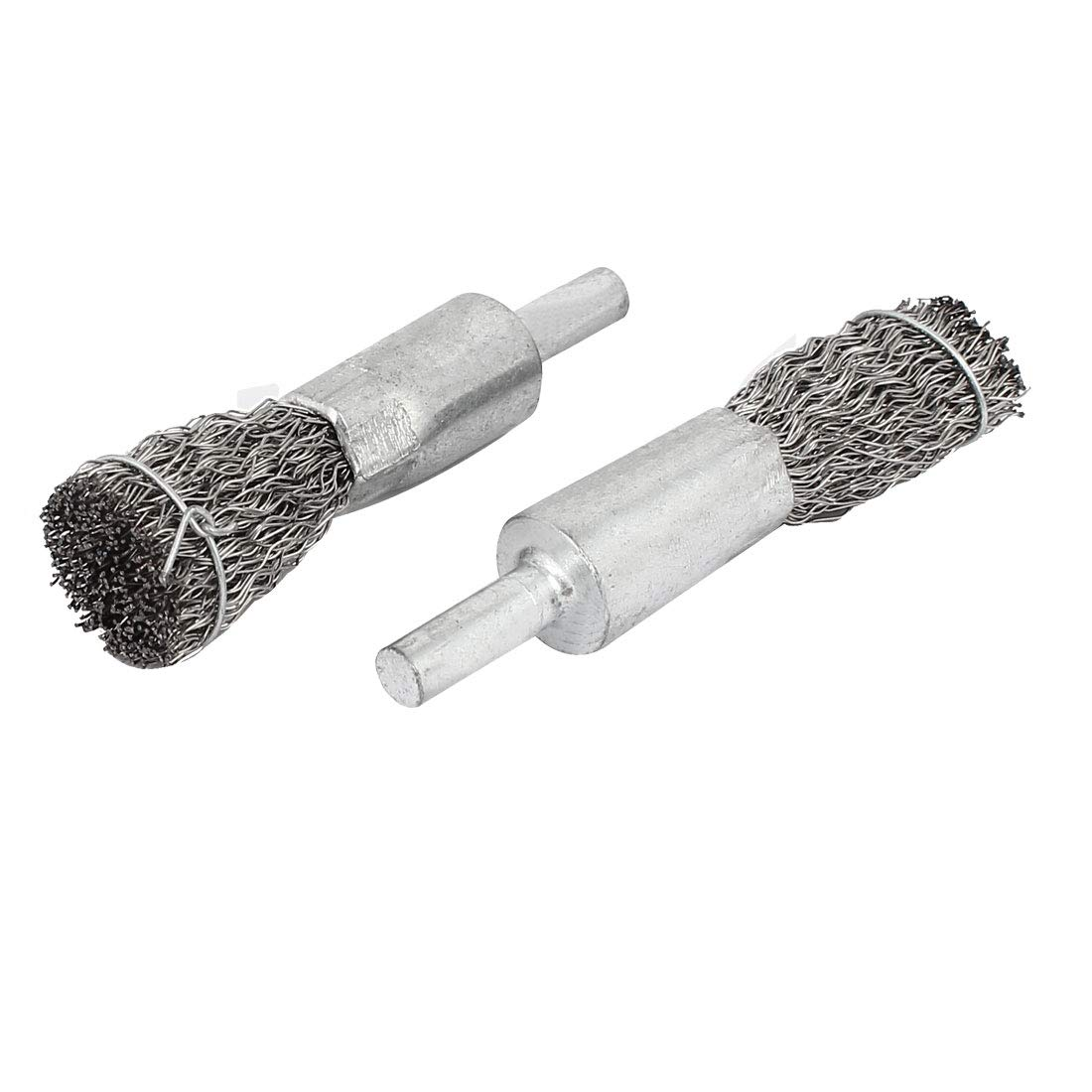 sourcingmap/® 6mmx15mm Stainless Steel Pen Design Crimped Wire End Brushes Polishing Tools 4pcs