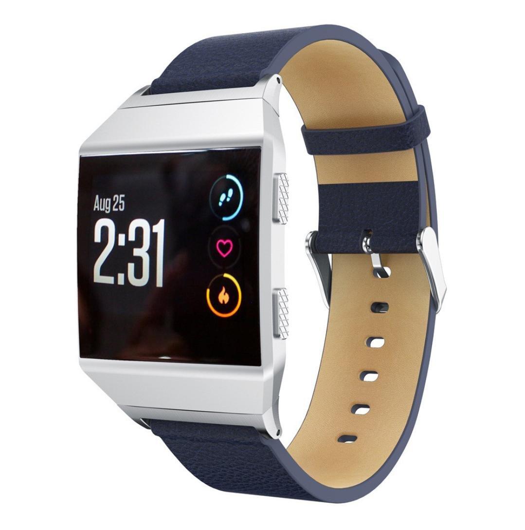 Fitbit Ionic帯、Liu Nianレザー交換用アクセサリーリストバンドストラップfor Fitbit Ionic Smart Watch ネイビーブルー ネイビーブルー B076P37FRH