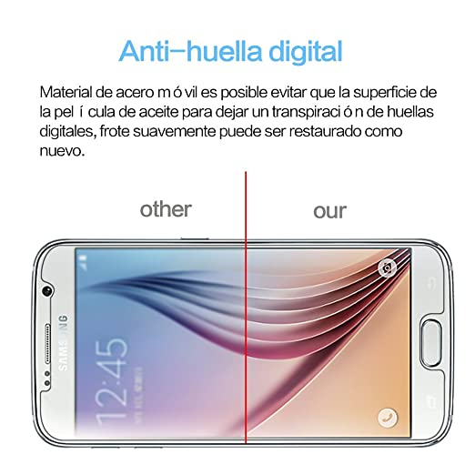[2-Pack] Samsung Galaxy S6 Cristal Templado Protector de Pantalla, Nazzamo Samsung Galaxy S6 Templado Vidrio Protector de Pantalla [9H Dureza] ...
