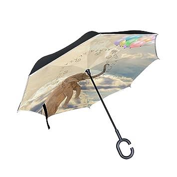ALAZA La Prueba de Doble Capa Paraguas invertido Coches inversa Paraguas del Elefante del Vuelo del