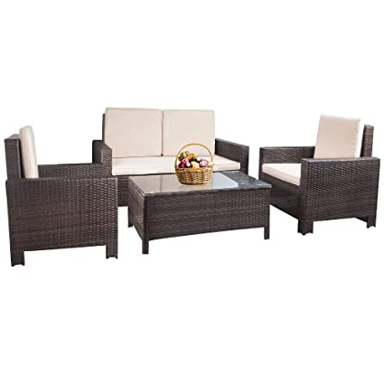 Amazon Com Patio Furniture Set 4pcs Outdoor Pe Rattan Wicker Sofa