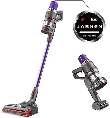 JASHEN Aspirador sin Cable, 350W Motor Digital Brushless 2500mAh Batería Extraíble de Ion-Litio 40 Minutos,LED Pantalla Inteligente, 3 Velocidades (púrpura V16): Amazon.es: Hogar