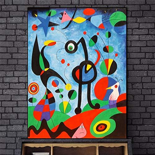 EUpMB Cuadros en Lienzo Decoracion de Pared Modernos Mural Fotos, El jardin 1925 de Joan Miro Obra de Arte Famosa Reproductis Resumen de Joan Miro 70x100cm sin Marco L100