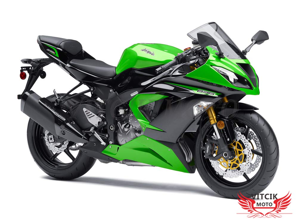 VITCIK Adesivi-decalcomanie da moto per Kawasaki ZX6R ZX-6R Ninja 636 2013 2014 2015 2016 decalcomanie per abbellimento moto da corsa carenatura (Verde & Nero)