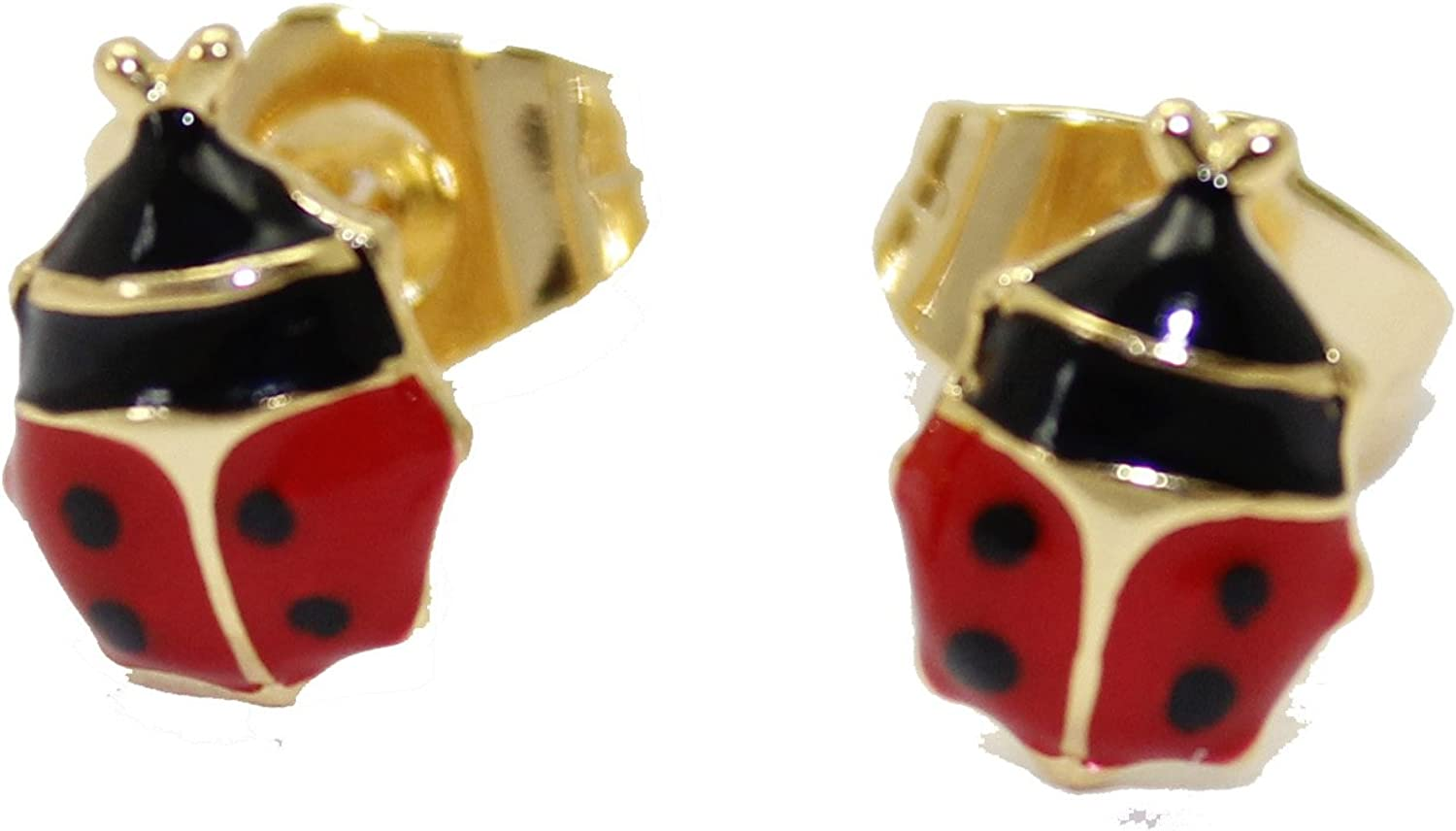 18K GP White Gold Crystal Rose Red Blue Lady beetle Stud Earring