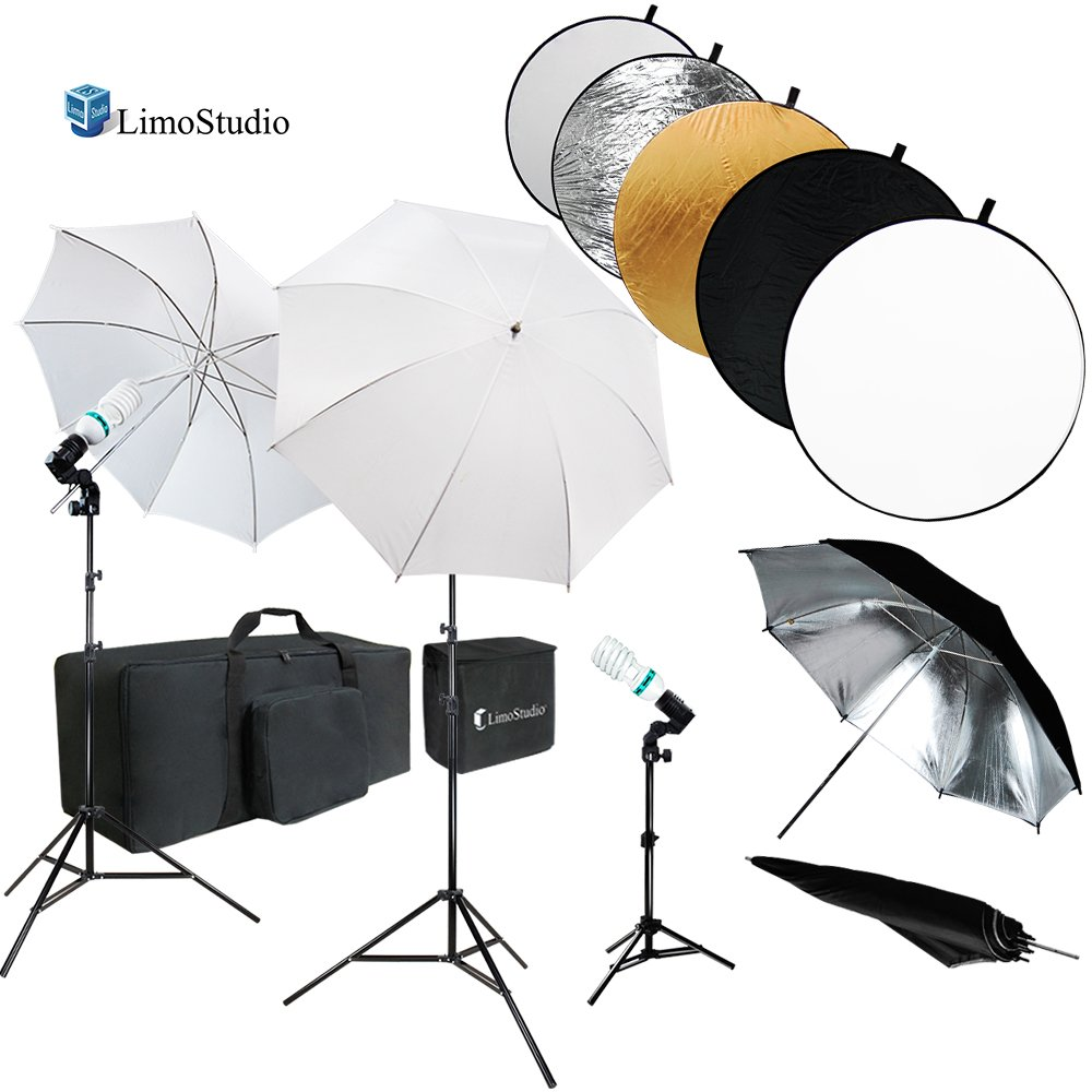 LimoStudio 43 Inch Round Reflector Disc & Umbrella Reflector Photo Studio Continuous Lighting Kit, White & Silver Umbrella, Photo Bulb, Socket, Light Stand Tripod, Carry Bag, AGG738V3