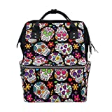 ALIREA Day Of The Dead Sugar Skull Diaper Bag Backpack, Large Capacity Muti-Function Travel Backpack