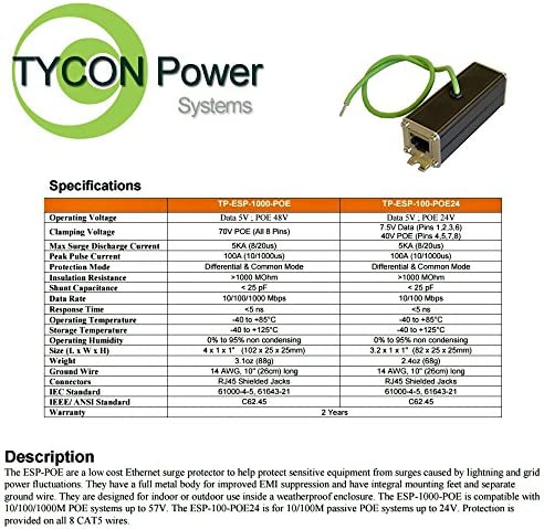 Tycon Systems TP-ESP-100-POE24 100Mbps Data Rate Network Lightning Surge Protector