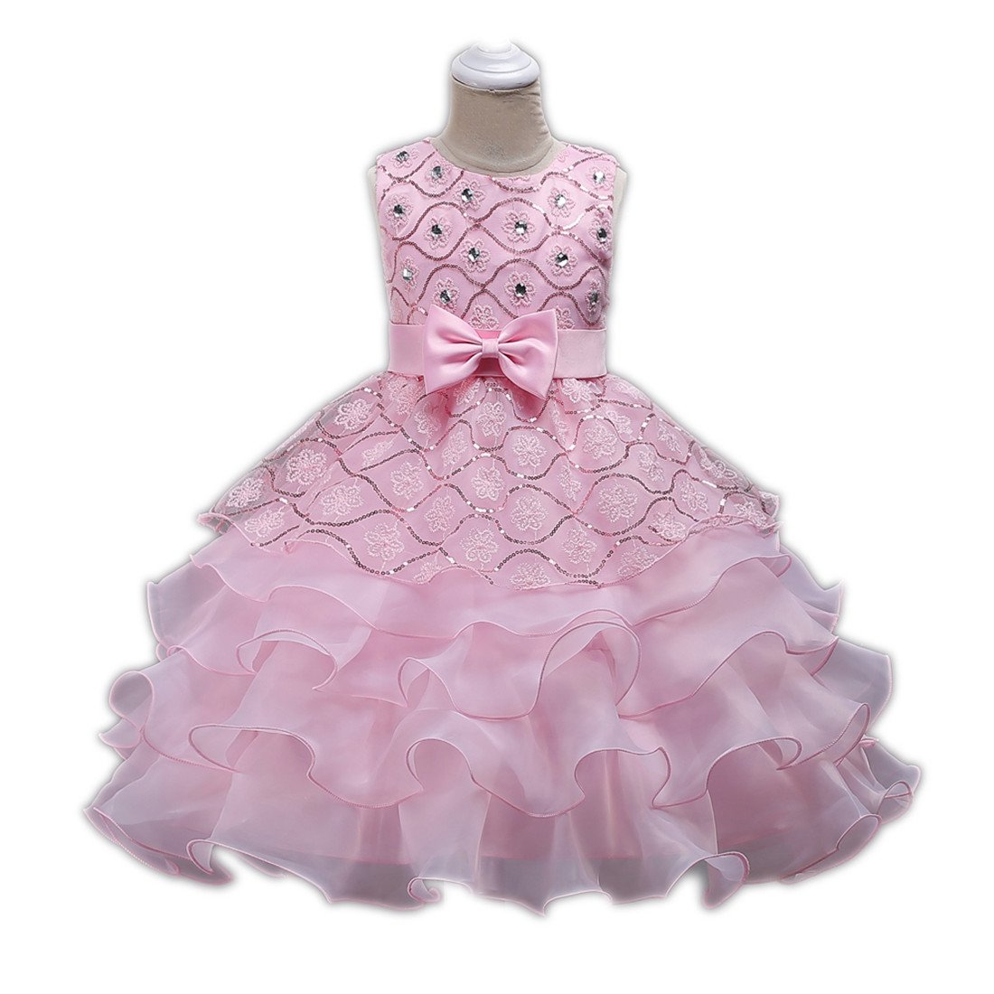 Big Girl Dresses Size 10-12 Wedding Party Prom Special Occasion Tops 7-16 Years Lace A Line Girls Bridesmaid Tutu Dresses Children Birthday Princess Pageant Elegant Gift Beauty Cute (Pink 150)