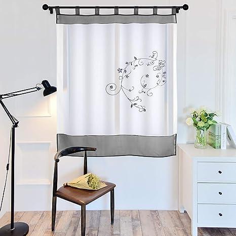 URIJK Gardine Riemenart Gartenstickerei Vorhang Transparent Schal Fenster  Dekoration Fenstervorhang Fenstergardine für Wohnzimmer Schlafzimmer ...