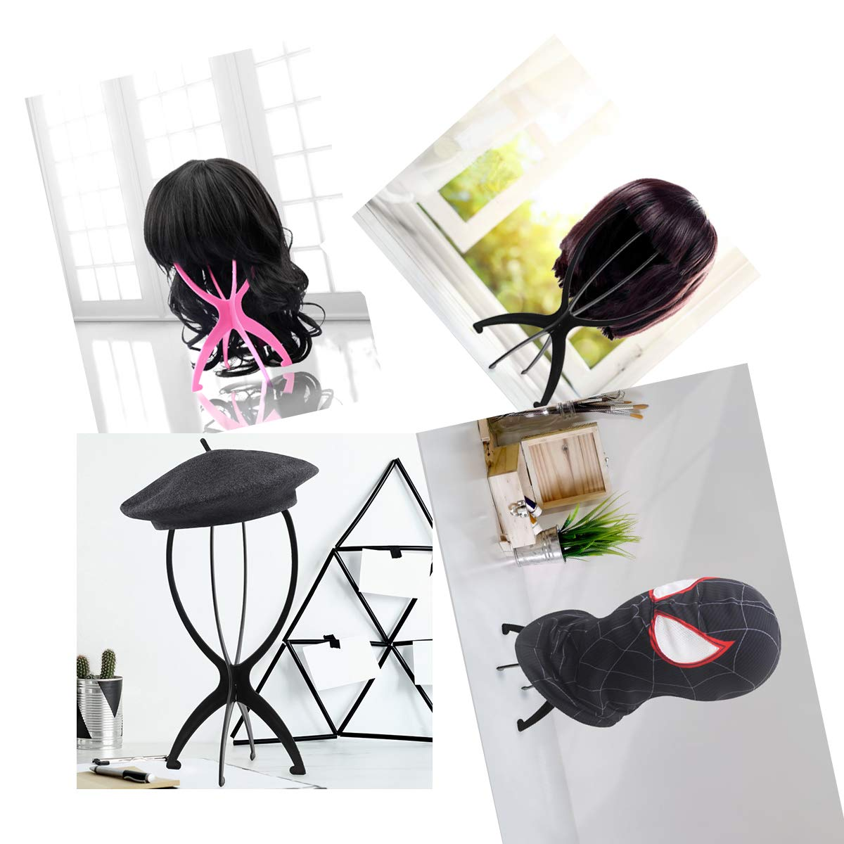 Wig Stand, 3 Pack Short Wig Stands for Wigs,14.2 Inch Wig Stand Holder,Portable Collapsible Wig Dryer,Wig Stands for Hats and Hairpieces - For Home, Salon and Travel (Black)