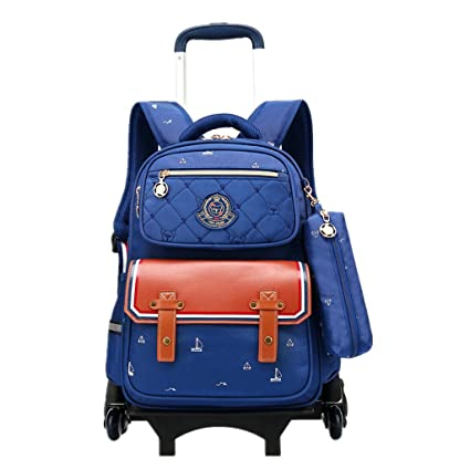Niños Trolley Mochila Escolar Bolso - Niña Niño con Ruedas Equipaje De Viaje para Niños con Bolsa Trolley