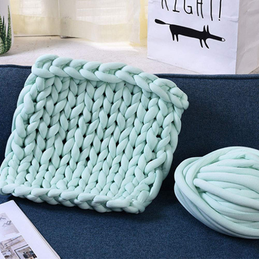 Braid Cotton Chunky Knit Playmat Rug Blanket,Bed Throw 47''x59'' Mat Kid's Room Play Carpet Nursery Decor,Cotton Tube Yarn Knitted Blanket,Photo Prop by Hand Knit Blanket (Image #2)