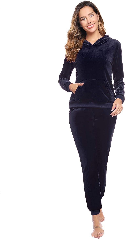 Abollria Damen Hausanzug Samt Velour Traingingsanzug Jogginganzug mit Taschen Relax Flauschig Zweiteiler Set Hoodie Sporthose