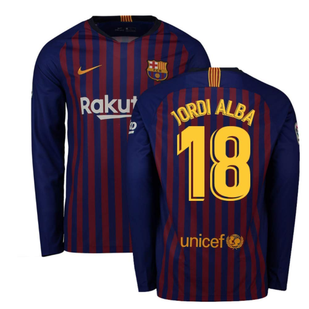 2018-2019 Barcelona Home Nike Long Sleeve Football Soccer T-Shirt Trikot (Jordi Alba 18)