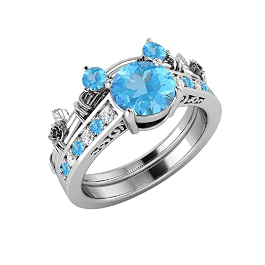 15ct blue topaz cubic zirconia anniversary promise classic look mickey mouse wedding band engagement - Mickey Mouse Wedding Ring