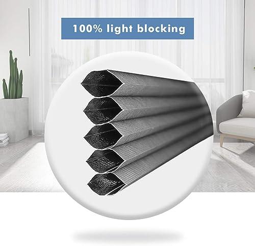 Cellular Shades Cordless Blinds Blackout Fabric Shades Honeycomb Door Window Shades Grey-White