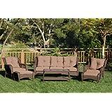Jeco W61-FS007 6 Piece Wicker Seating Set with Brown Cushions, Espresso