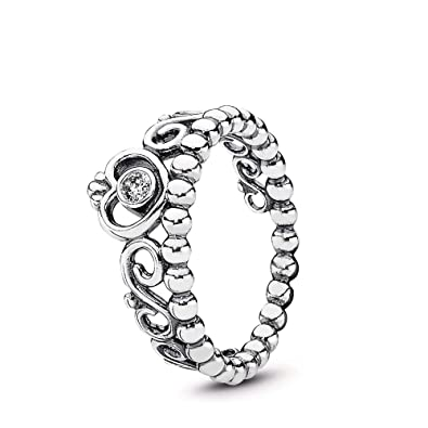 13940f482 PANDORA My Princess Stackable Ring, Sterling Silver, Cubic Zirconia, Size 6