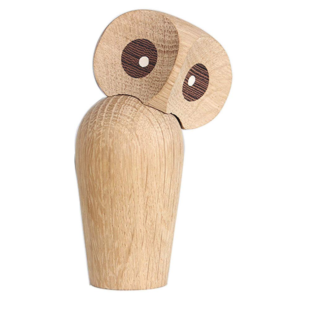 LSM store Creative Wooden owl Home furnishings Crafts/Living Room Decoration Center,Head 360 Degree Rotation (Yellow)