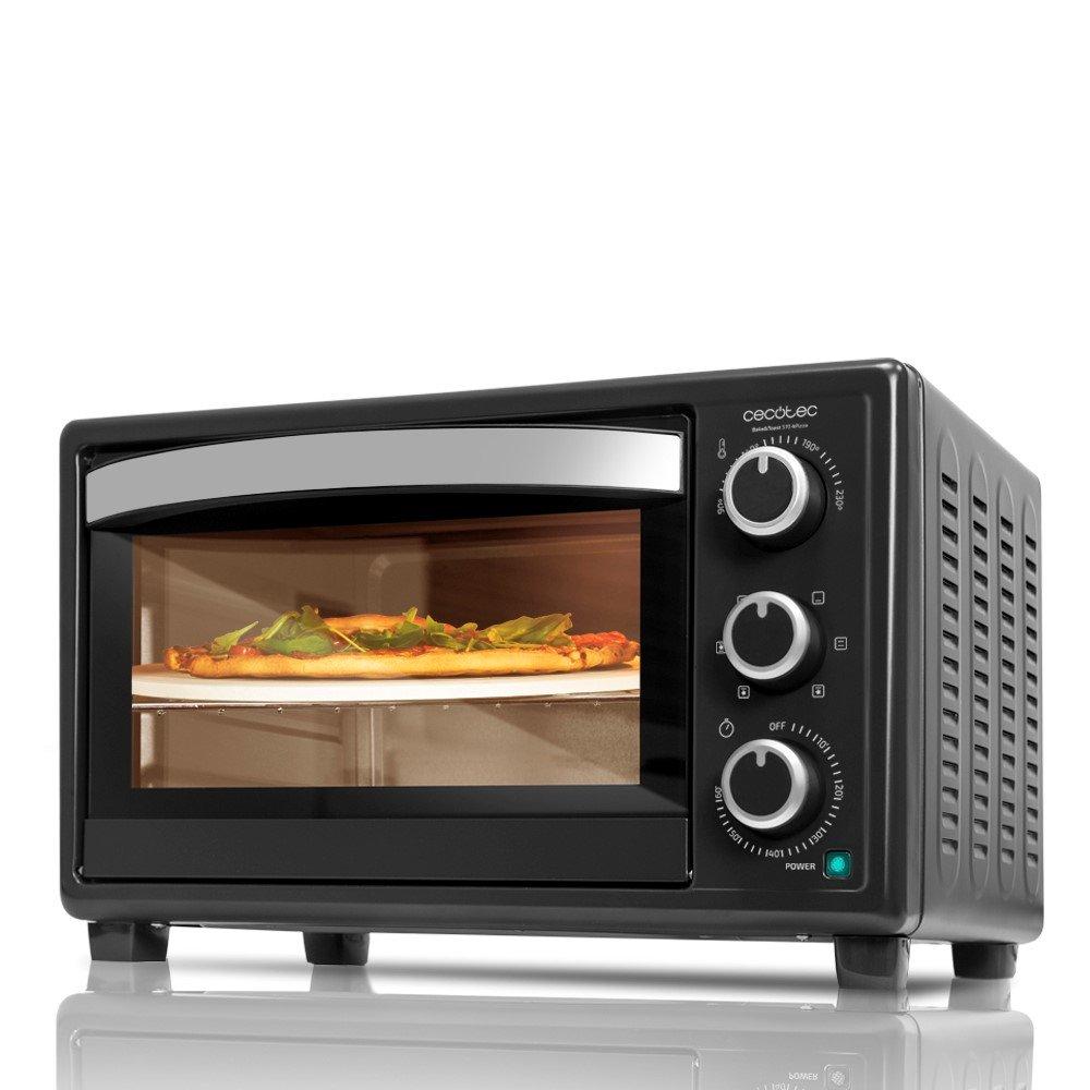Cecotec Horno Conveccion Sobremesa Bake&Toast 570. Capacidad de 26 litros, 1500 W, 6 Modos, Piedra Especial para cocinar Pizza, Temperatura hasta 230ºC y Tiempo hasta 60 Minutos, Negro