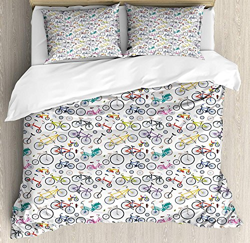 Twin Size Bicycle 3 PCS Duvet Cover Set, Retro Style Colorful Bicycles of All Styles and for All Age Groups Training Wheels, Bedding Set Bedspread for Children/Teens/Adults/Kids, Multicolor