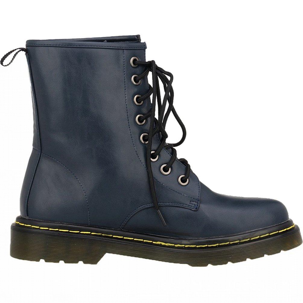 WanYang Bootsschuhe Stiefel Winter Boots fuuml;r Damen PU Leder Kurz Schlupfstiefel40 EU(Fu?l?nge:25CM/9.84?|Tiefes Blau