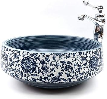 Elegante cuenco de cer/ámica para lavabo con dise/ño floral vintage