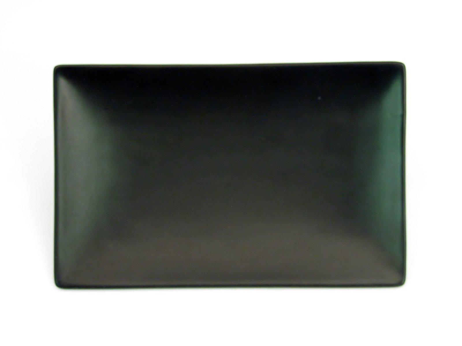 CAC China 666-34-BK Japanese Style 8-1/2-Inch by 5-1/2-Inch Non Glare Glaze Black Rectangular Platter, Box of 24