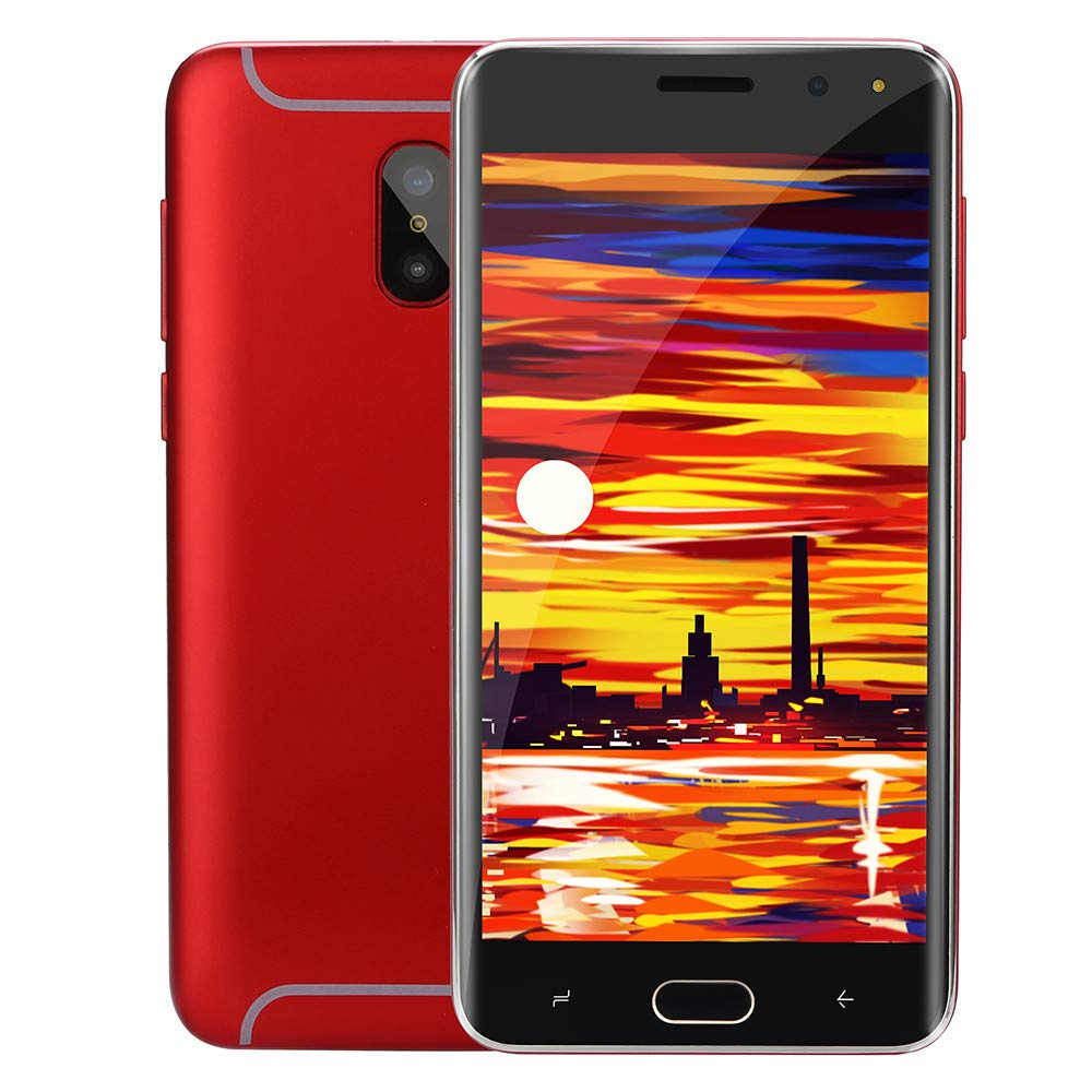 Unlocked Cellphones Smartphone | 5.0'' Dual HD Camera GSM 3G WiFi Mobile Phone | 512MB RAM / 4GB ROM Dual SIM Ultrathin Android Cell Phones Telephones (Red)