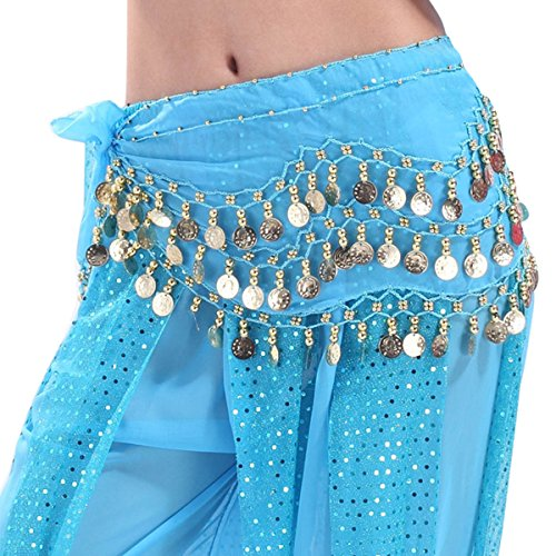 Quesera Women's Chiffon Hip Scarf 3 Layered Sequin Gold Coin Belly Dance Skirt,Laker Blue,Length=59 inch Width=10 (Lakers Costume)