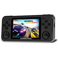 MJKJ RG351P Handheld Game Console , 64G TF Card 2500 Classic Games Opening Linux Tony System RK3326 Chip 3.5 Inch IPS Screen (Black)