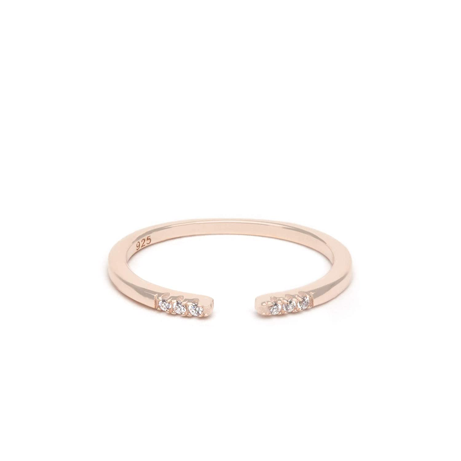 Jeannes Jewels Womens 925 Sterling Silver Avery Stackable Wedding Band Ring 1.5mm