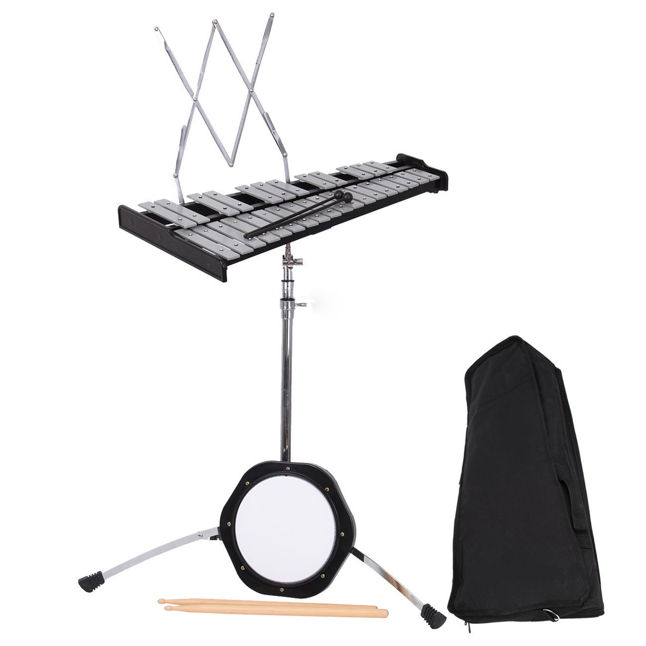 Ridgeyard 30 Educational Glockenspiel Bell Kit Hand Percussion Musical Instrument w/Practice Pad, Mallets, Sticks, Stand and Bag Best Christmas Gift for Kids Children