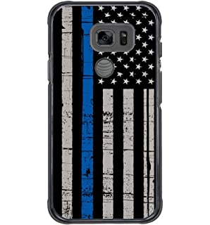 Galaxy S7 Active Case,BWOOLL Thin Blue Line American Flag Black Hard Plastic Protective Cover