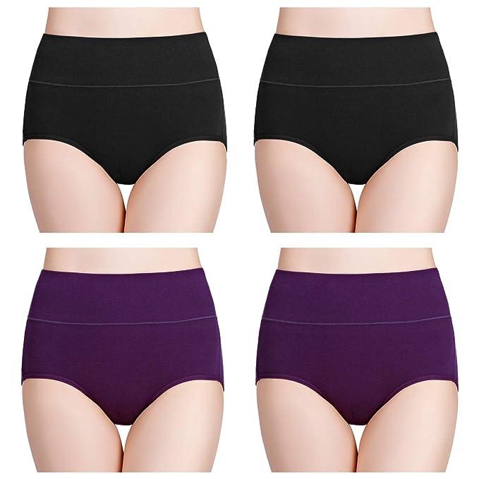 ed902ad79fd8 wirarpa Women's Cotton Underwear High Waist Full Coverage Brief Panty  Multipack