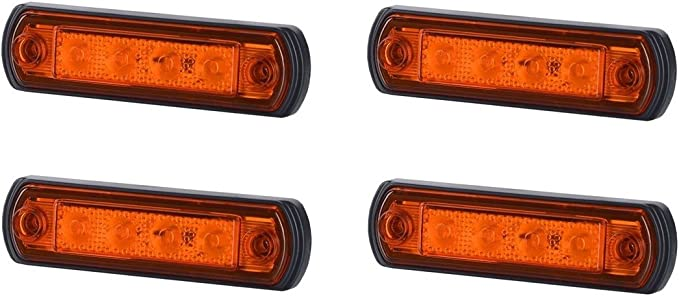 4 X 4 Smd Led Orange Begrenzungsleuchte Umrissleuchte 12v 24v Mit E Prüfzeichen Positionsleuchte Auto Lkw Pkw Kfz Lampe Leuchte Licht Gelb Universal Auto