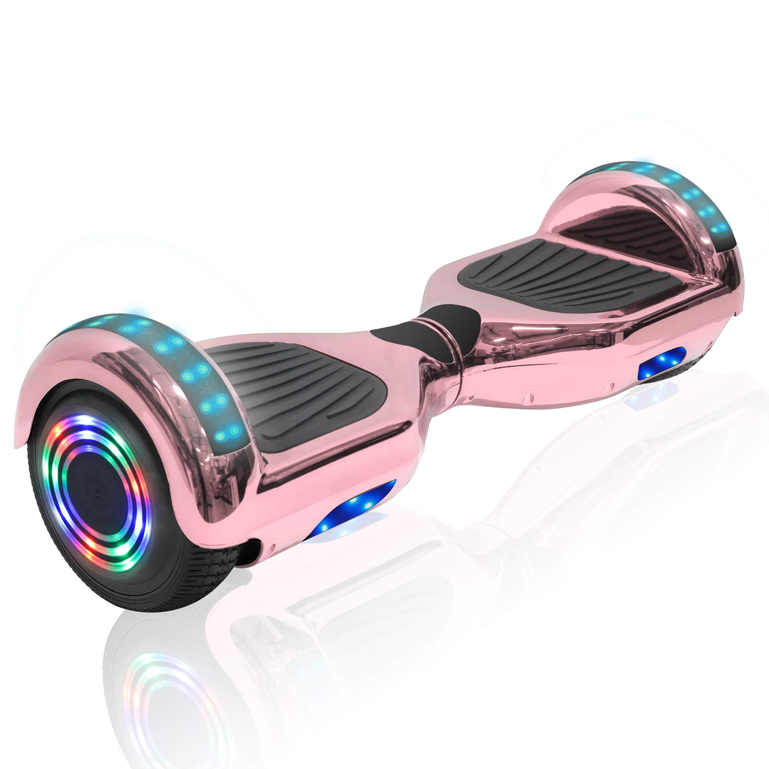 Longtime 6.5'' Chrome Metallic Hoverboard Self Balancing Scooter with Speaker LED Lights Flashing Wheels (Metallic Rose Gold) by Longtime
