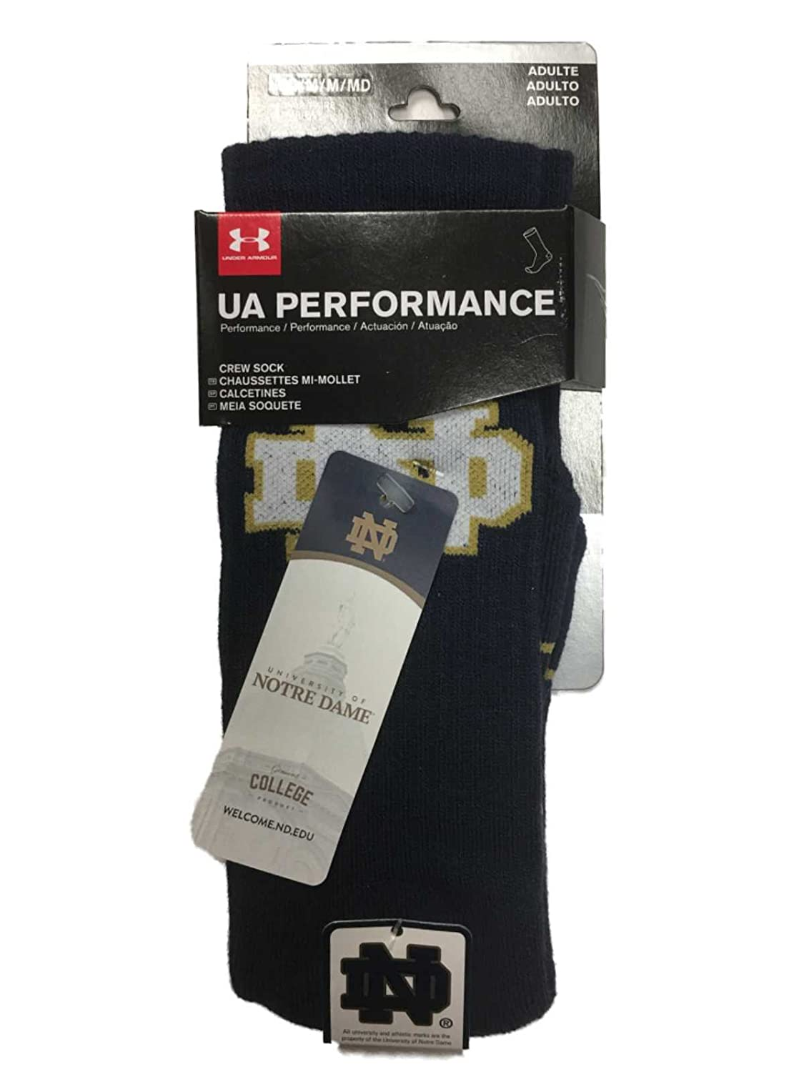 Amazon.com : Notre Dame Fighting Irish Under Armour Performance Mens Navy Crew Socks (M) : Sports & Outdoors
