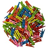 Comtechlogic CM-4070 Wooden Coloured Mini Colour Craft Wedding Arts Crafts Colourful 2.5cm Mini Wooden Pegs - Ideal for Hanging Photos, clothes, kids arts and crafts (Multi colour)