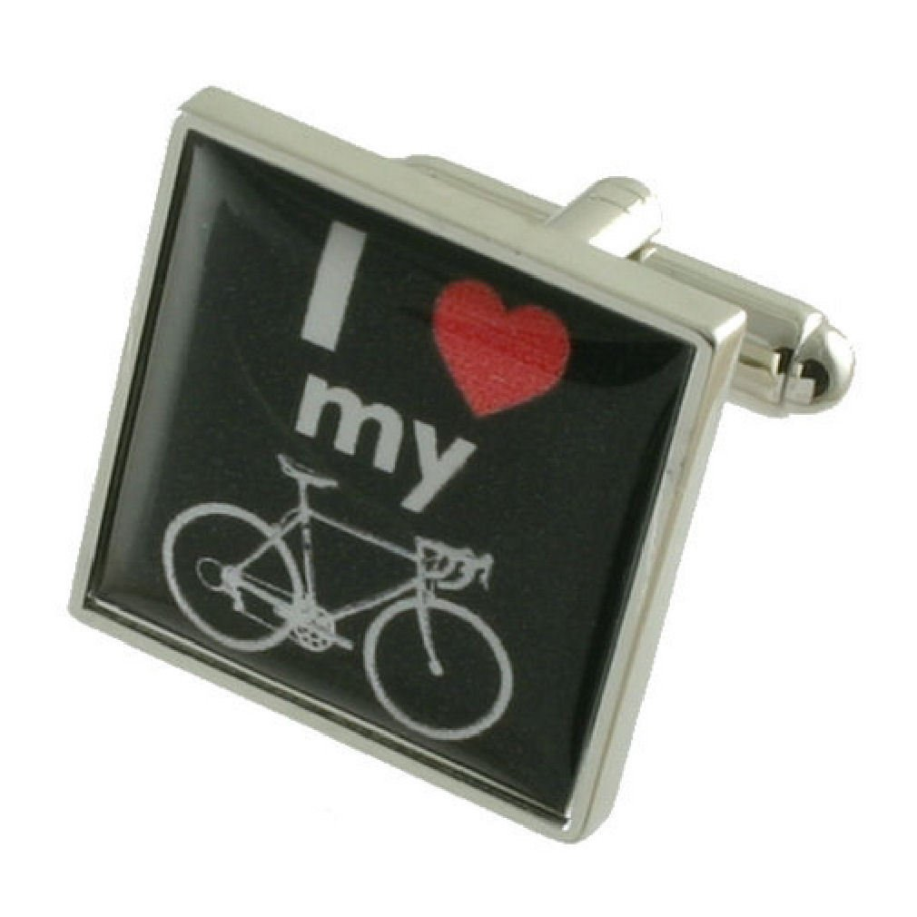 I Love My Bike Sign Cufflinks Solid Sterling Silver 925 with optional engraved message box