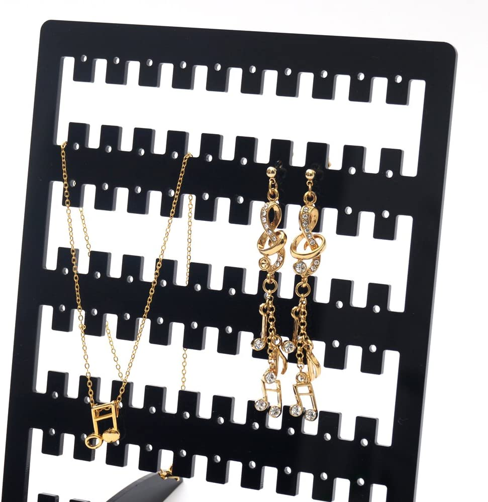 TheJD Acrylic Earring Screen Stand Holder 5.3 inch 7 inch Black upto 80 pairs screen earring holder