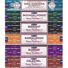 Set of 6 x 15g Boxes Incense Nag Champa Sunrise Sandalwood Midnight Patchouli...