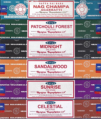 Satya – Set of 6 – Nag Champa, Sunrise, Sandalwood, Midnight, Patchouli, Celestial 15 grams
