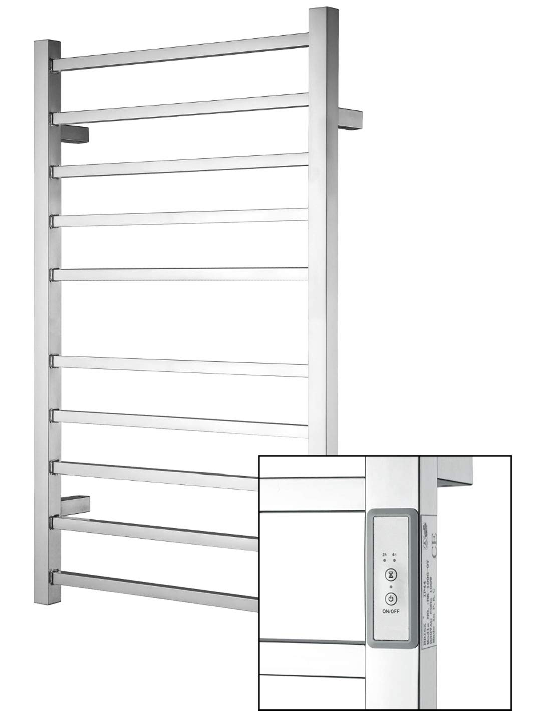 Towel Warmer   Built-in Timer with Led Indicators   3 Timer Modes: ON/Off, 2 H, 4 H   Wall Mounted   10 Bars   High Polish Chrome Stainless Steel