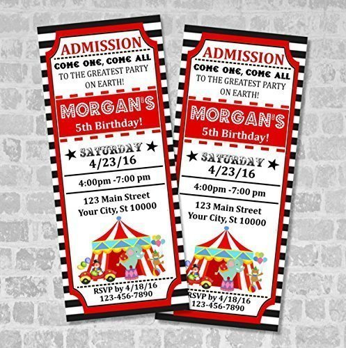 Amazon Circus Ticket Invitations Carnival Birthday
