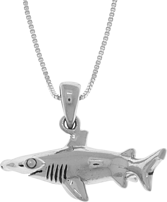 New .925 Sterling Silver Shark Pendant