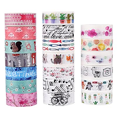 Dalus 20 Rolls Washi Masking Tape Set, Decorative Adhesive Tape for Crafts,Beautify Bullet Journals ,Planners